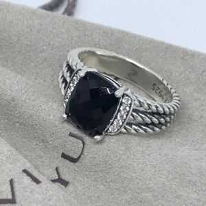 David Yurman Petite 10x8 black onyx diamond ring